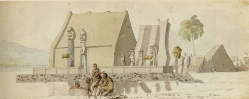 Temple_on_the_Island_of_Hawaii_by_Louis_Choris_ink,ink_wash_and_watercolor_over_pencil_1816