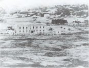 The original Queen's Hospital, shortly after being built, was sparsely surrounded in 1860
