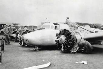 Amelia's Electra following take off accident on Ford Island March 20, 1937.