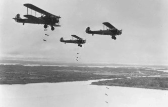 Three Keystone B6As of 20th Bombardment Squadron, 2d Bomb Group, release their bombs on a practice mission