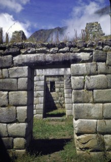 Trapezoidal entry doors at Incan ruins of Machu Picchu.