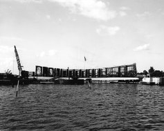 USS Arizona Memorial under construction. The memorial opened in 1962
