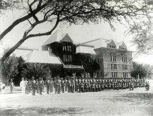 V4_4-C [KSB Band and Cadets in front of Bishop Museum]-(KSBE)