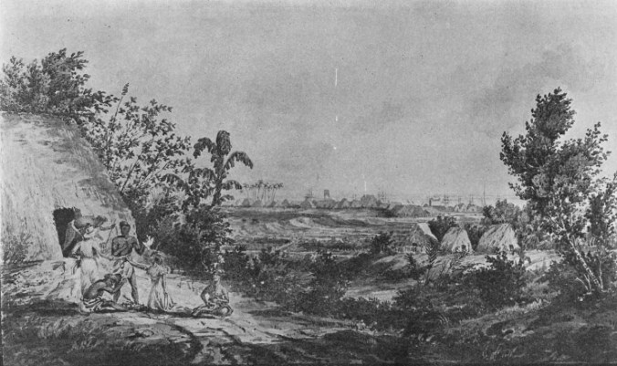 View_near_the_Town_of_Honoruru,_Sandwich_Islands_from_the_Taro_Patches-Beechey-1826