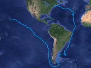 Voyage of the Thaddeus-Overall_Route-PeterYoung-GoogleEarth-Map