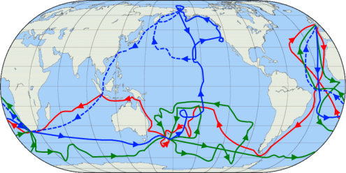 Voyages of Captain Cook in the Pacific-Red-1st voyage (1768–1771)-Green-2nd voyage (1772–1775)-Blue- 3rd voyage (1776–1779)