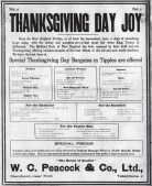 WC_Peacock_Thanksgiving_Ad-Evening_Bulletin-Nov_20,_1909