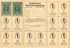 War Savings Stamp card