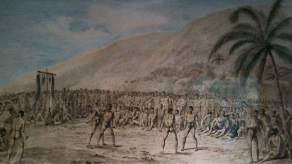Webber drawing of a Makahiki boxing match before Capt. Cook done at Napoopoo in 1779