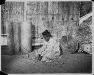 Woman weaving a lauhala mat-PP-33-7-004