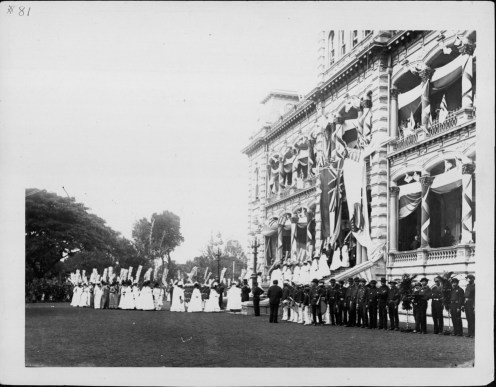 Women of Ahahui Hooulu Lahui o Ka Moiwahine-King Kalakaua's Jubilee-PP-36-8-011-Nov 16, 1886