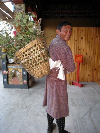 collecting prunings around the Thimphu Dzong