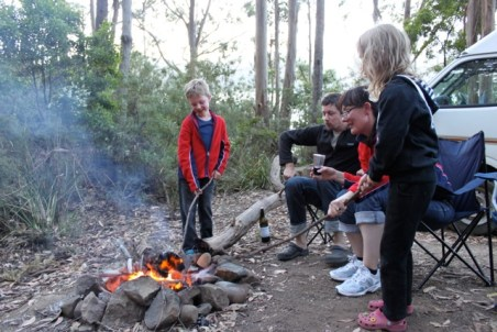 playing with a campfire in Tasmania