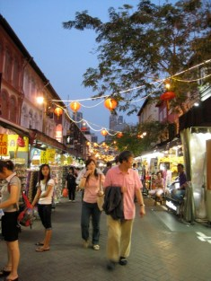Chinatown, Singapore .... gracious old buildings, stall lights and lanterns