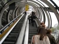 up an escalator at the Centre Georges Pompidou, Paris