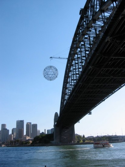 Sydney Harbour Bridge with structure for fireworks