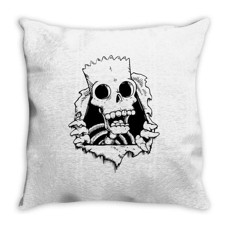 bart skull throw pillow by artistshot