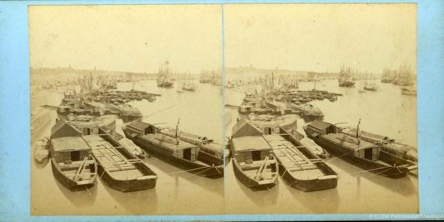 images stéréoscopiques Jean Andrieu 1862 Bordeaux bateaux allège sapine gabarre Garonne