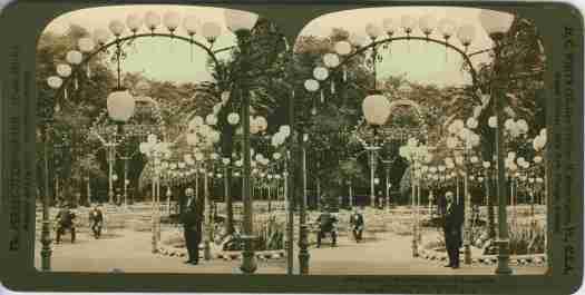 Image stéréoscopique Berlin, les jardins de la brasserie Kroll