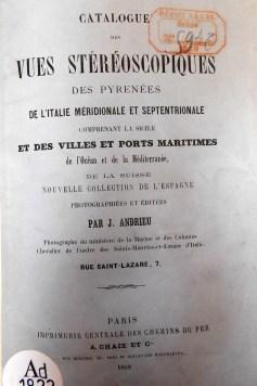 Images stéréoscopiques catalogue Jean Andrieu 1868