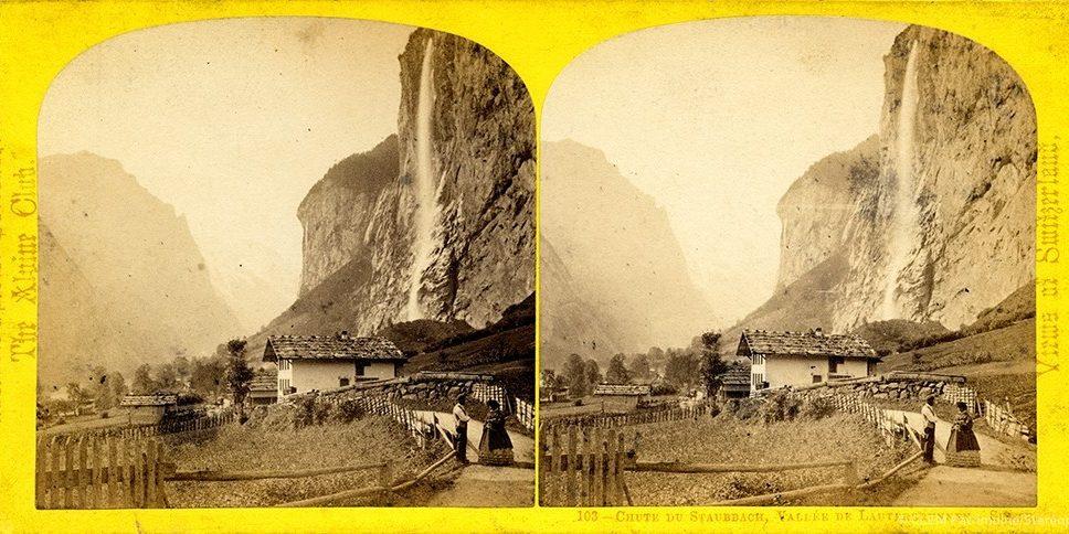 Images stéréoscopiques William England Suisse Lauterbrunnen Staubbach