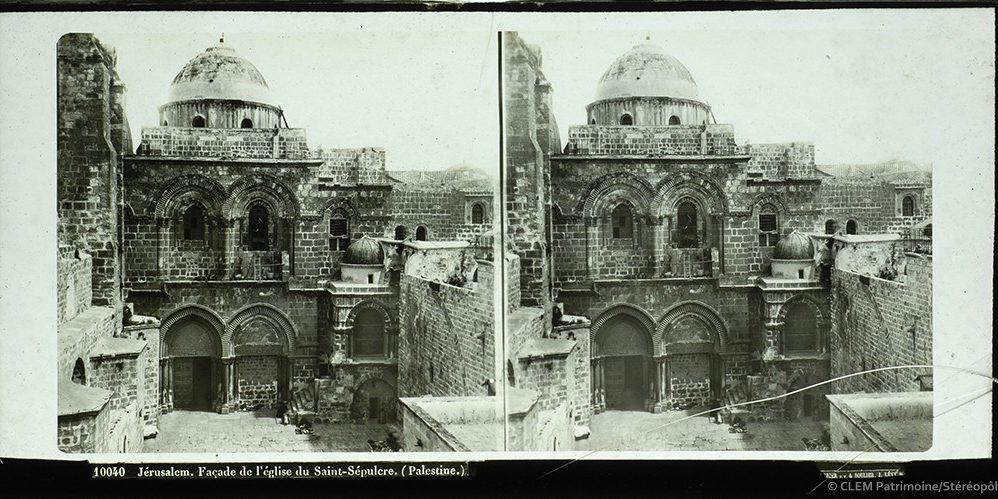 Images stéréoscopiques plaques de verre Ferrier père fils & Soulier, J. Lévy Successeur Jérusalem Saint-Sépulcre