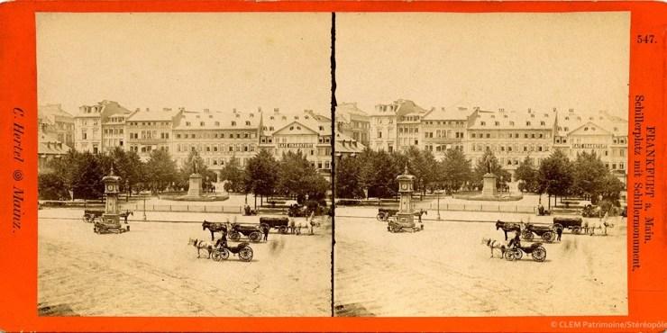 Images stéréoscopiques Hertel Carl Francfort-sur-le-Main Monument Schiller