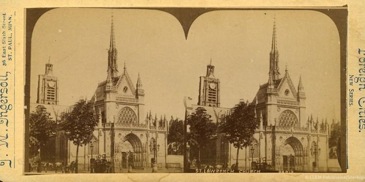 Images stéréoscopiques Ingersoll Truman Ward Paris Eglise Saint-Laurent