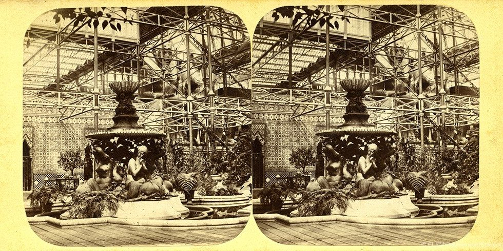 Images stéréoscopiques Negretti Henri et Joseph Zambra Londres Fontaine Monti Crystal Palace