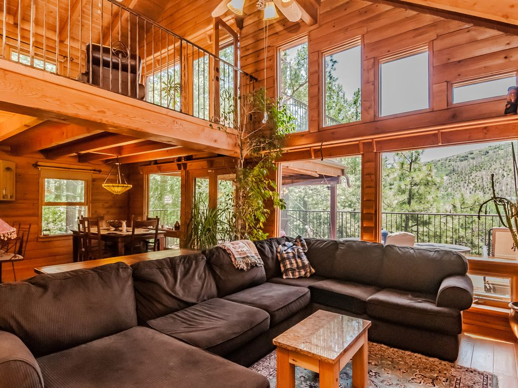 Contemporary Log Cabin Nestled in Towering Pines  VRBO
