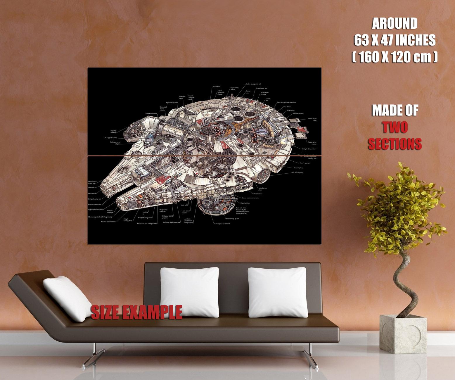 hight resolution of millennium falcon schematic star wars art wall print