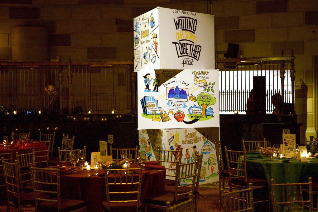 ImageThink ImageTowers displaying organizational history and success stories at the PENCIL Gala.