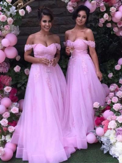 A-line Off-the-shoulder Tulle Floor-length Appliques Lace Unique Bridesmaid Dress #UKM01012926