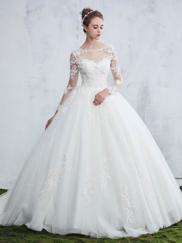 Ball Gown Scoop Neck Tulle Appliques Lace Sweep Train Long Sleeve Beautiful Wedding Dresses #UKM00022657