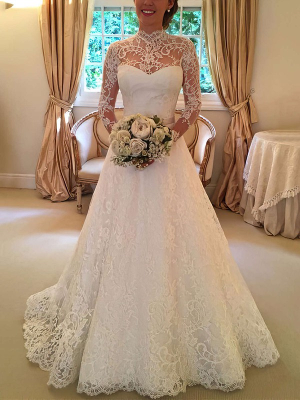 Open Back A-line High Neck Lace Sweep Train Sashes / Ribbons Long Sleeve Wedding Dresses #UKM00022590