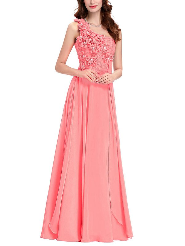 Chiffon One Shoulder A-line Floor-length with Crystal Detailing Bridesmaid Dresses #UKM01013431