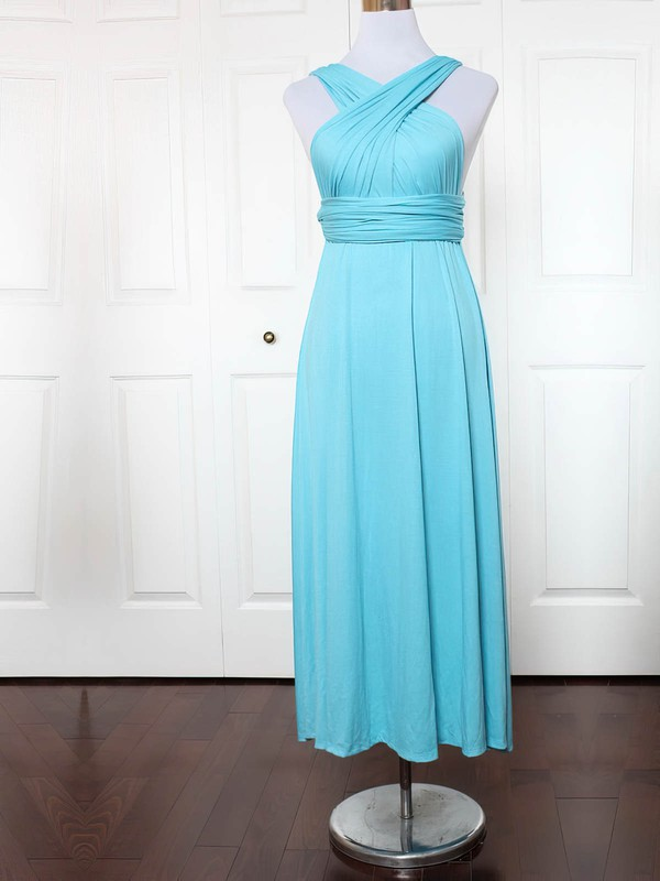 Jersey V-neck A-line Ankle-length with Ruffles Bridesmaid Dresses #UKM01013136