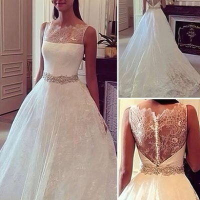 Lace Scoop Neck Ball Gown Sweep Train with Sashes / Ribbons Wedding Dresses #UKM00023084
