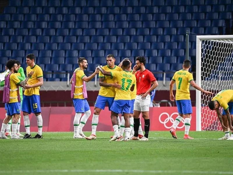 Brazil's players celebrate their win over Egypt at Saitama Stadium