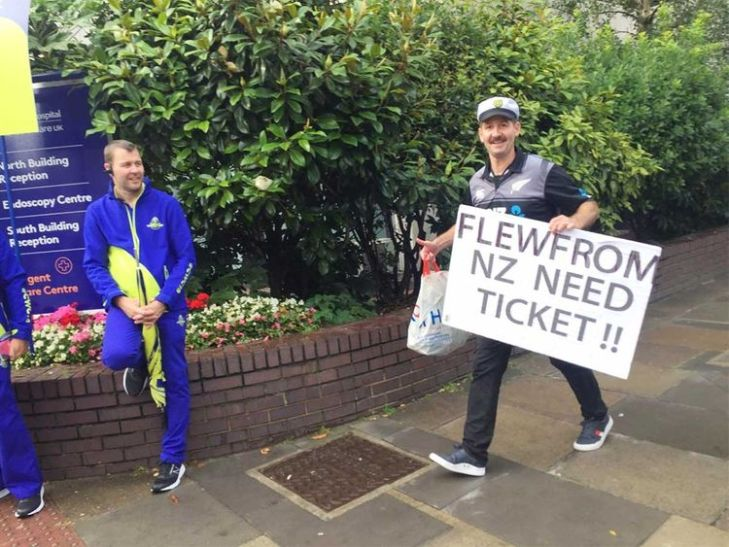 A desperate New Zealand fan trying for a ticket outside the Lord's stadium