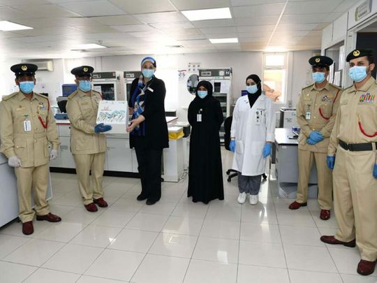 The police team with DHA officials