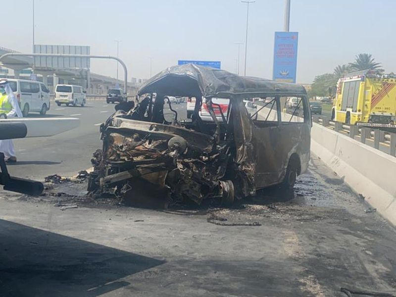 Image from Sunday's bus crash on Sheikh Zayed Road that killed two injured 12