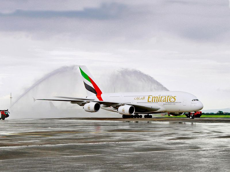 Emirates A380 made a one-off service to Clark International Airport on Wednesday, becoming the first commercial flight, utilizing the aircraft, to operate to the Luzon-based airport
