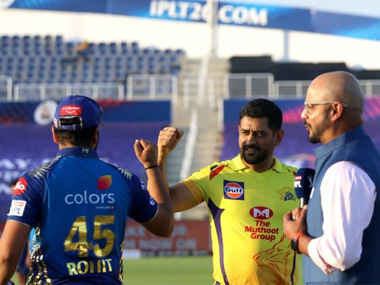 MS Dhoni captain of Chennai Superkings and Rohit Sharma captain of Mumbai Indians during the toss.