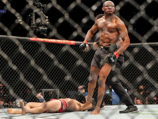 Kamaru Usman of Nigeria celebrates his victory over Jorge Masvidal of the United States during the Welterweight Title bout of UFC 261 at VyStar Veterans Memorial Arena on April 25, 2021 in Jacksonville, Florida.