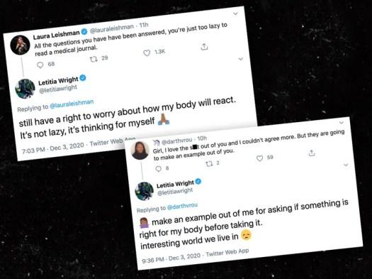 Letitia Wright's Anti-Vaccine Tweets