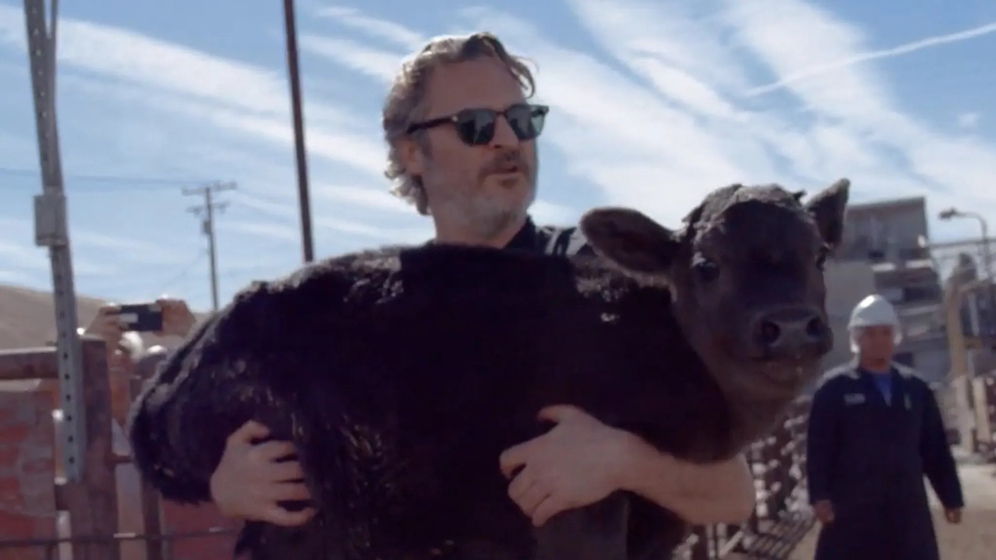 Joaquin Phoenix Saves Mama Cow and Her Calf After Oscars Speech