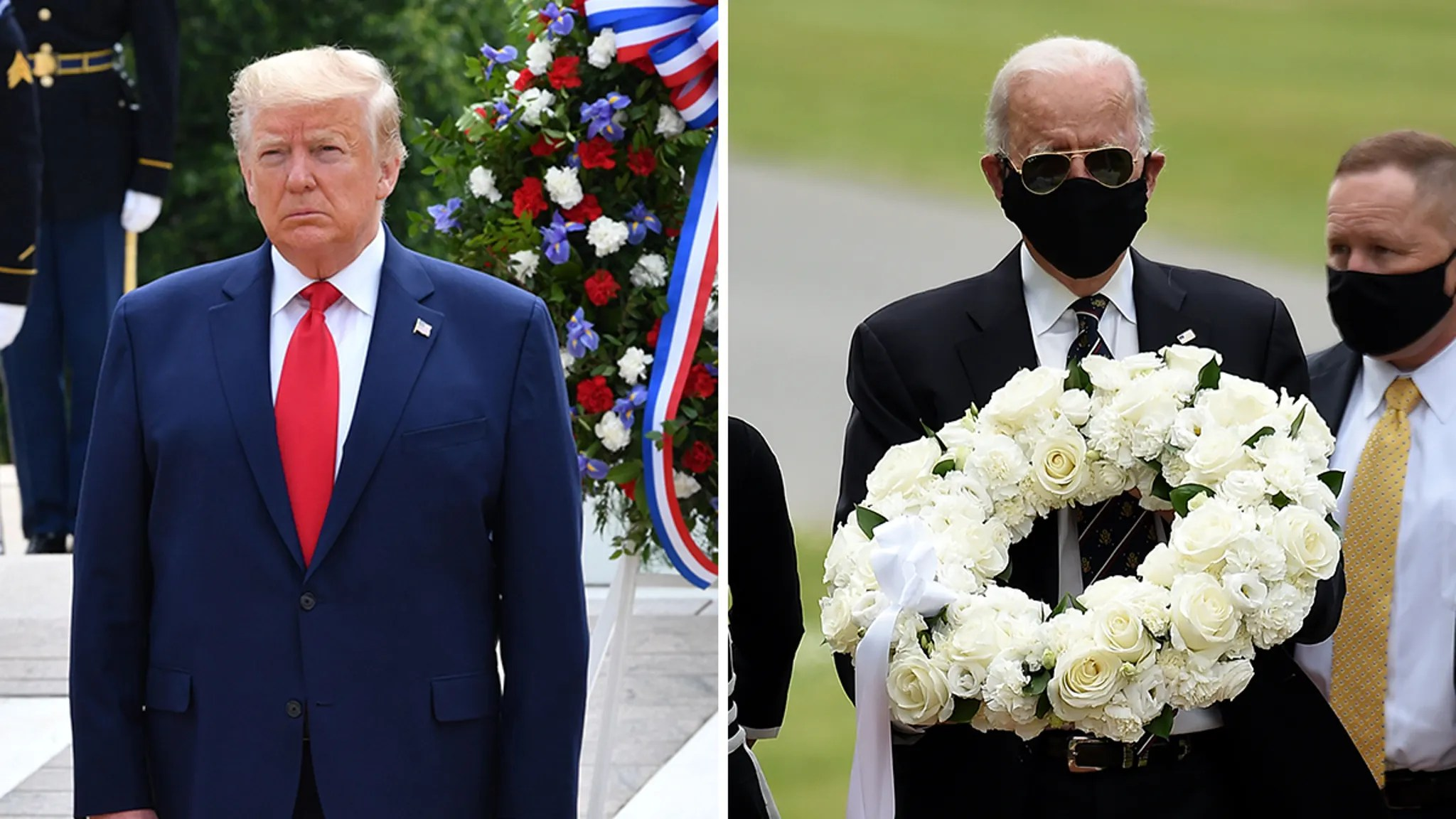 President Trump Doesn't Wear Mask for Memorial Day But Biden Does
