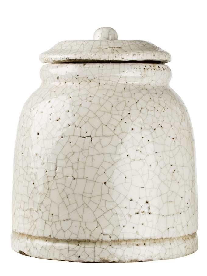 decoratieve aarden pot wit