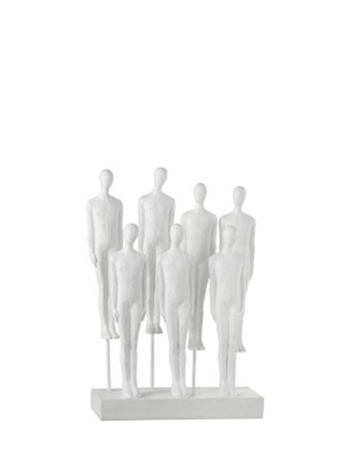 Figuren 7 Mannen Op Voet Polyresine Wit